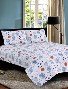 SPORTS BALL Teens & Kids Bedding HOMBEDIMP BED SHEET QUEEN