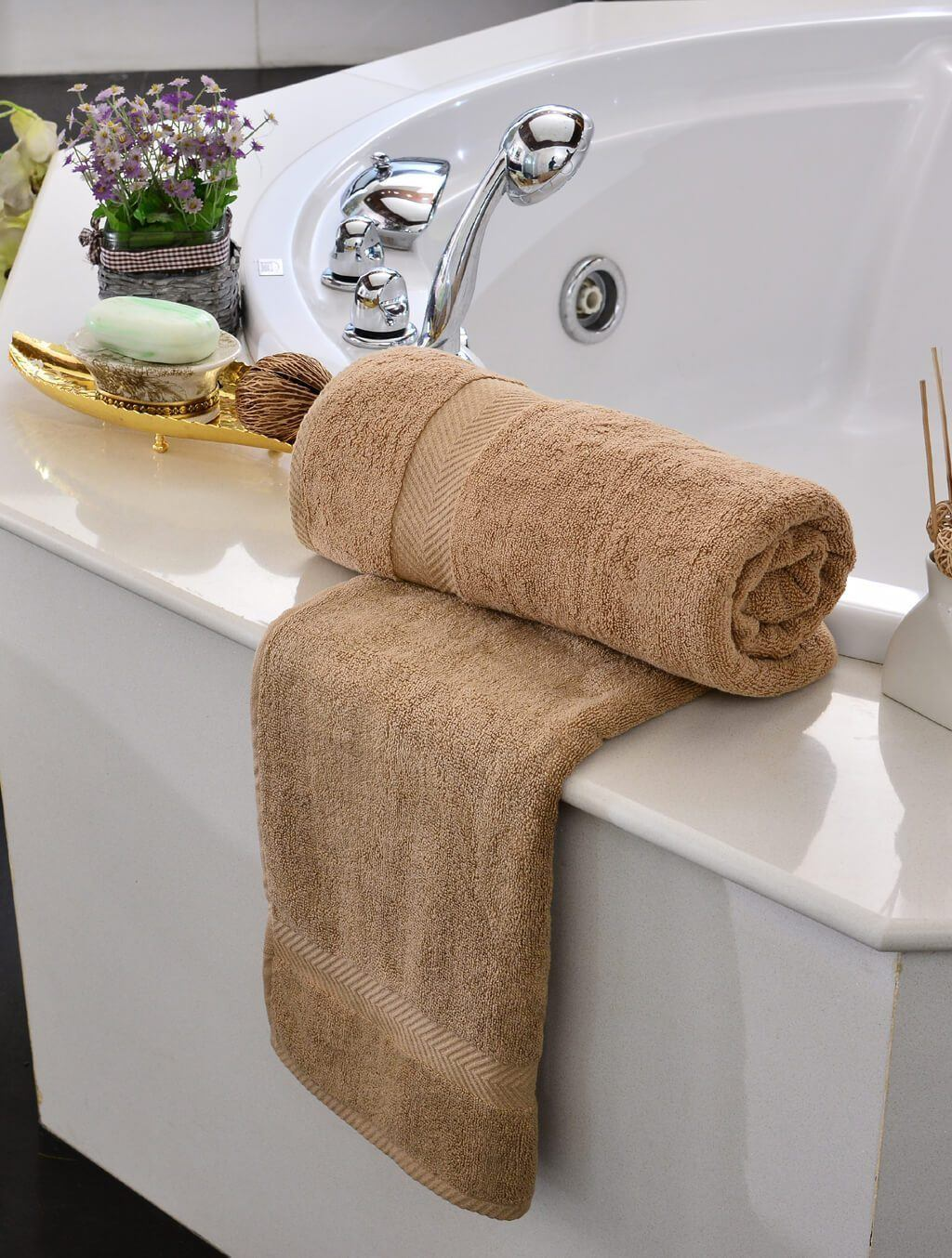 Towels Plain Beige Dyed Towels HOMBATTOW