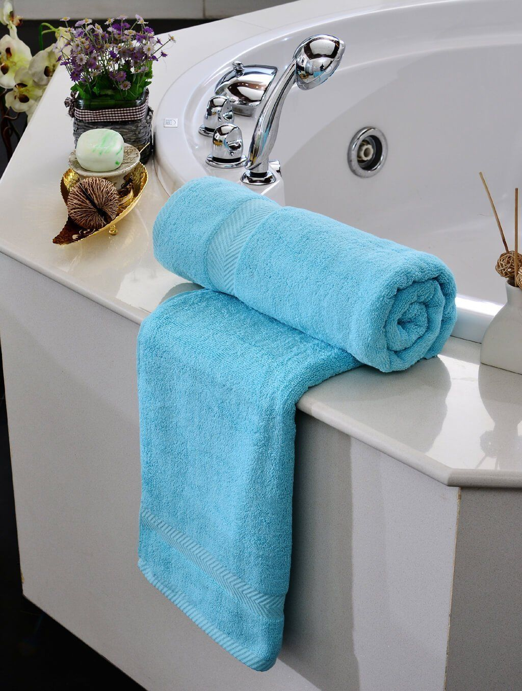 Towels Plain L/Blue Dyed Towels HOMBATTOW