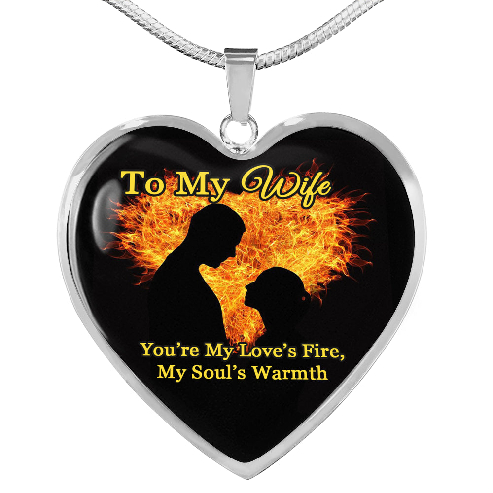 Husband To Wife Love's Fire Heart Pendant Necklace