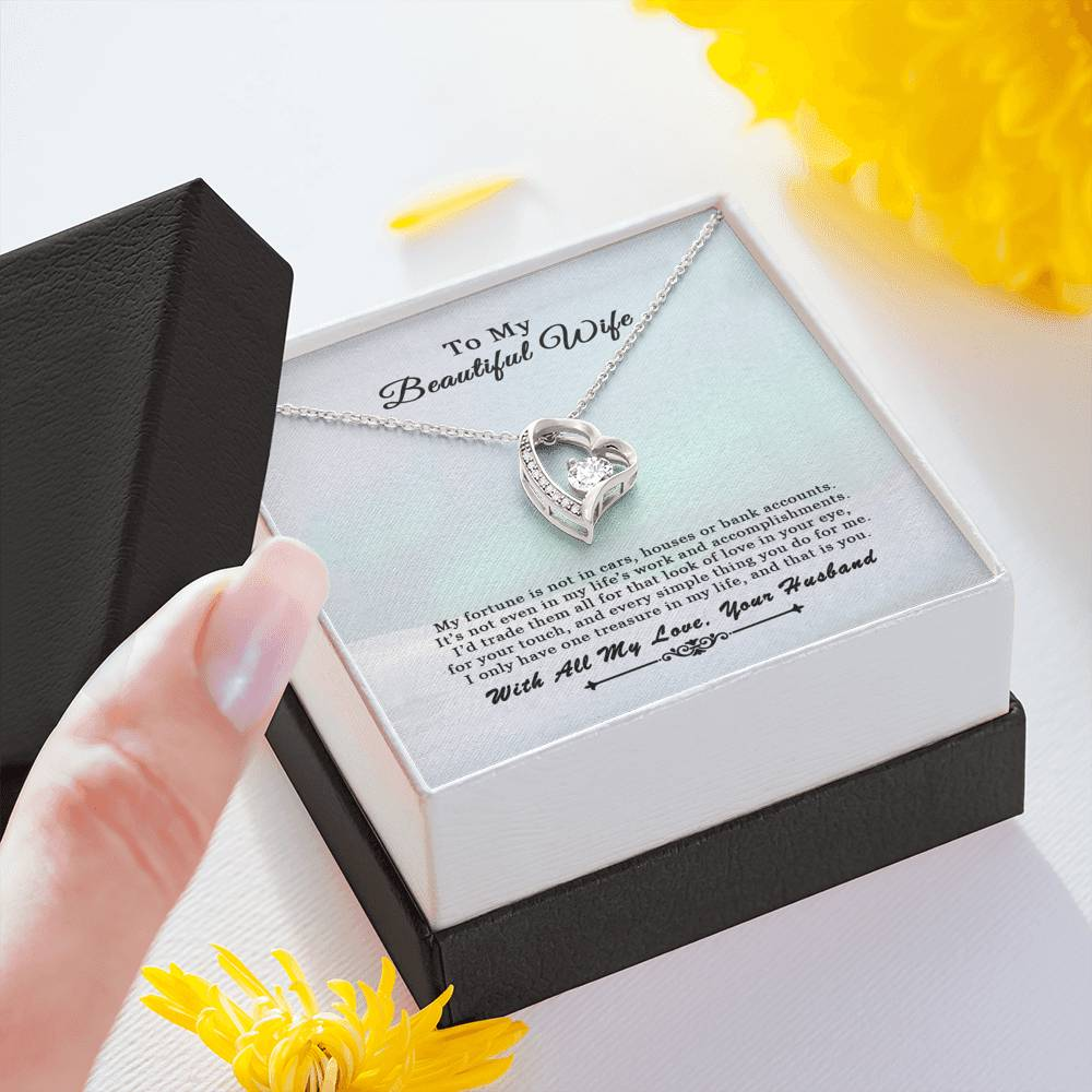 Husband To Wife Treasure Forever Heart Necklace