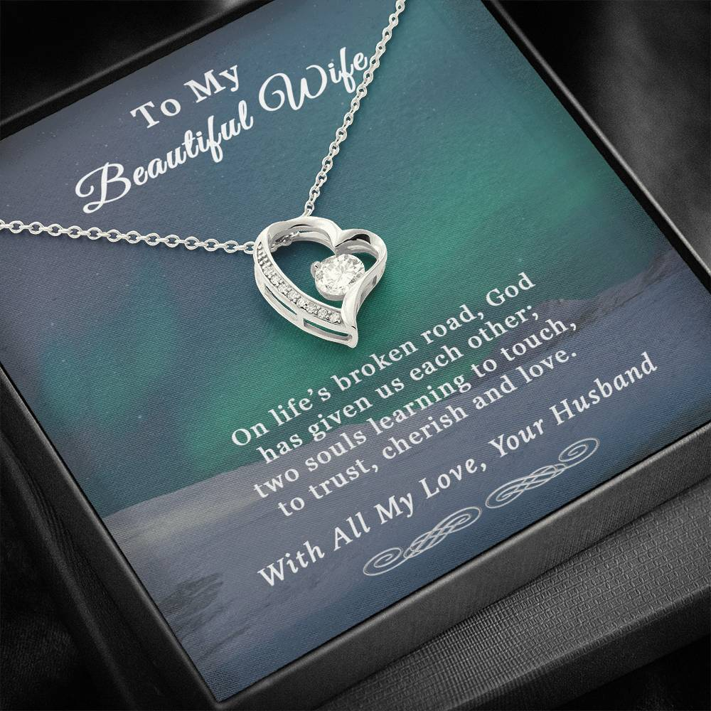 Husband To Wife Broken Road Heart Necklace