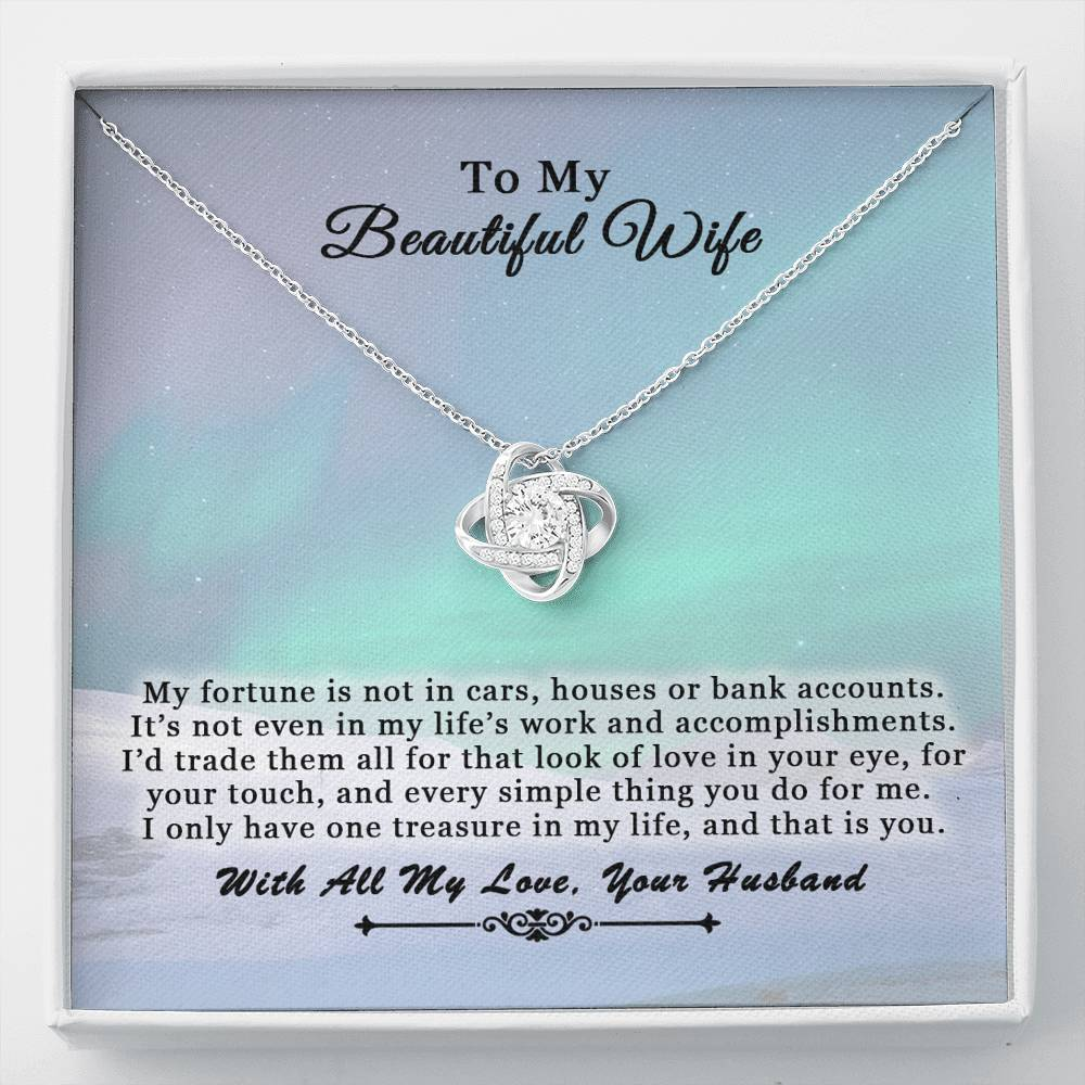 Husband To Wife Love Knot Treasure Heart Necklace