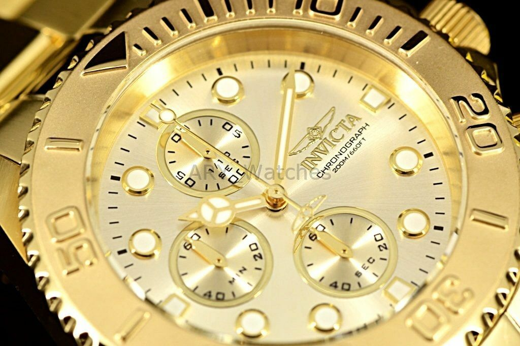 Men's Invicta Pro Diver 18k GOLD Plated SS Chronograph Champagne Dial Watch