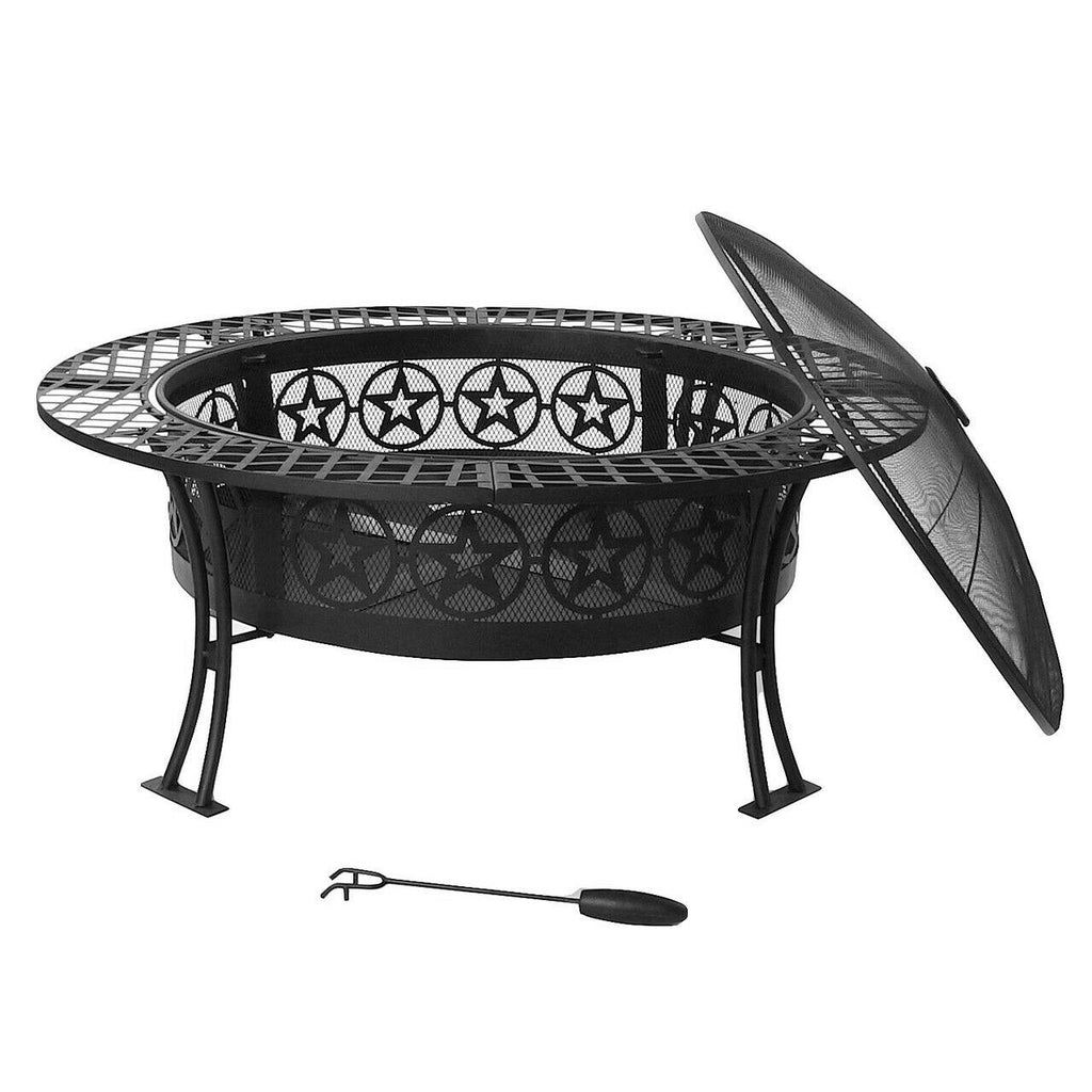 "Sunnydaze 40"" Fire Pit Black Steel Four Star Design with Spark Screen and Poker"