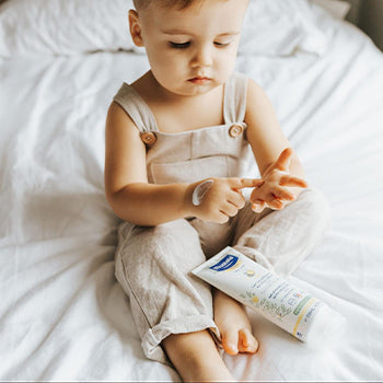 5 Month Old Baby using Mustela baby lotion
