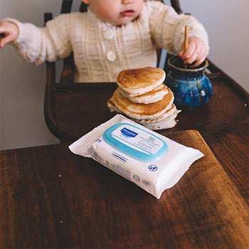7 month old baby eating pancakes