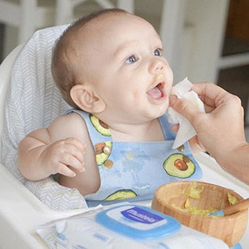 cleaning babies face after eating