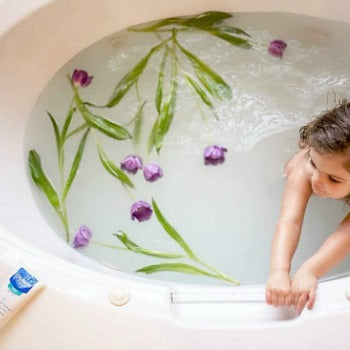 Bath time with eczema skincare products