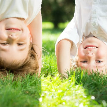 Children with eczema playing outside