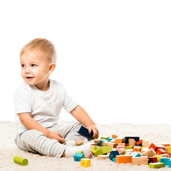 baby playing with eco-friendly toys