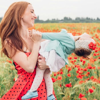 Mom and baby with eczema in the springtime