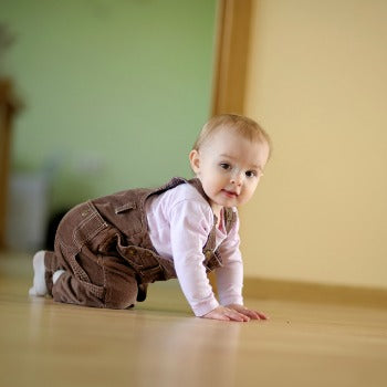 baby crawling with minimal obstructions