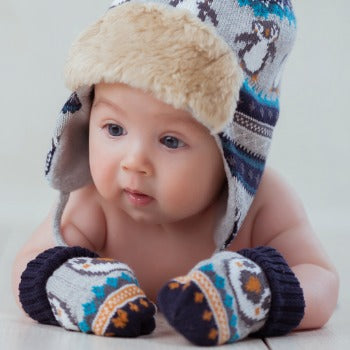 hat and mittens for preventative baby skin care