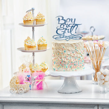 cake at gender reveal party