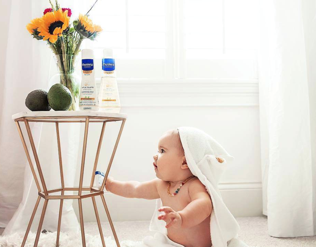 Baby after bath using organic skincare products