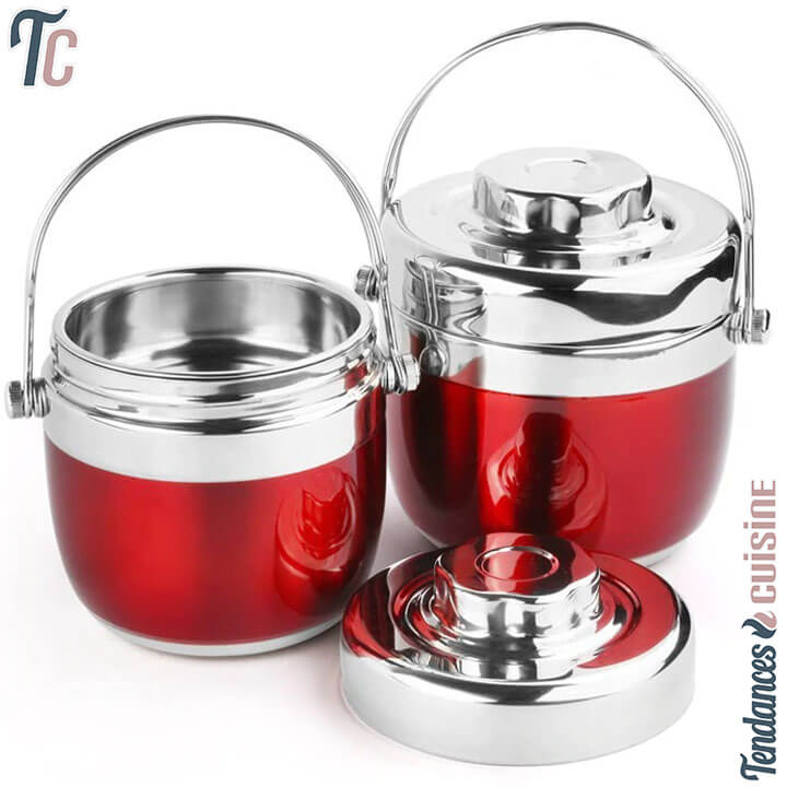 Lunch Box Bento Isotherme Premium Rouge Inox 1.2 L