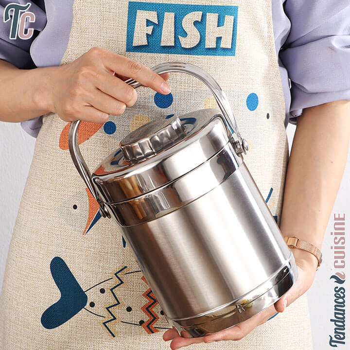 Lunch Box Isotherme Inox Deluxe Cylindre - tendances-cuisine.fr