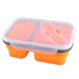 Lunch Box Compactable Pliante 2 Compartiments Orange Tendances-cuisine.fr
