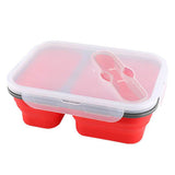Lunch Box Compactable Pliante 2 Compartiments Rouge Tendances-cuisine.fr