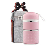 Lunch Box Japonaise Bento 3 compartiments rose Tendances-cuisine.fr