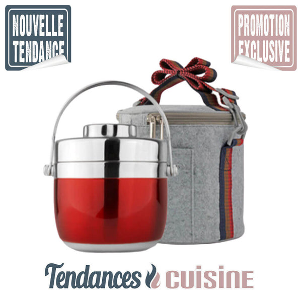 Lunch Box Bento Isotherme Premium Rouge Inox 1.5 L + Housse de Transport