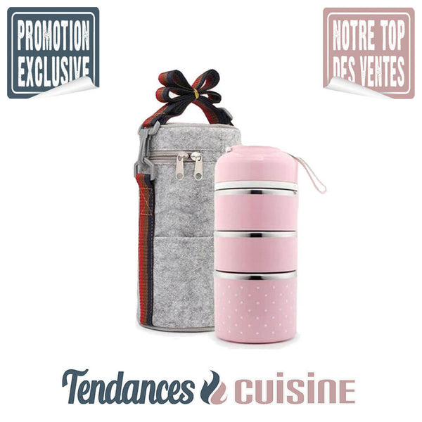 Lunch Box Japonaise 4 compartiments rose en vente sur Tendances-cuisine.fr