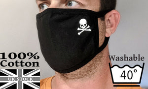 REALLY COMFY Black Cotton Face Covering 'Korean Style' with Skull and CrossBones