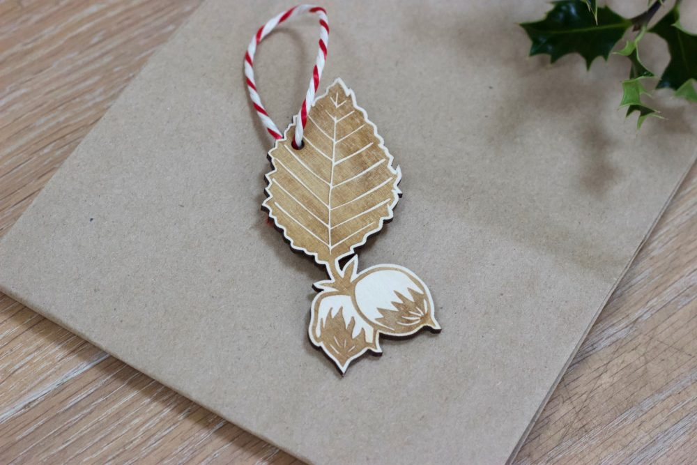 Laser cut hazlenut christmas decoration