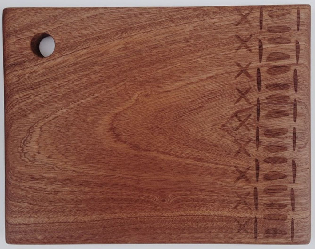 Hardwood chopping board with laser etched design