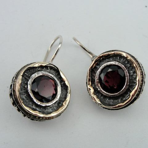 Amazing Earrings with Garnet, 925 Sterling Silver & 9k Yellow Gold, Israeli Jewelry, Handmade, Silver Earrings, Gift, Gemstone Earrings (ms 1374e)