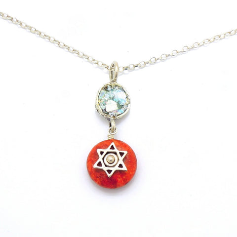 Coral sponge and roman glass necklace with a Star of David
