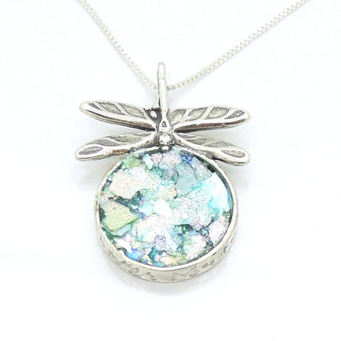 Dragonfly sterling silver necklace with roman glass