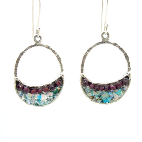 Sterling silver earrings with roman glass & garnet beads