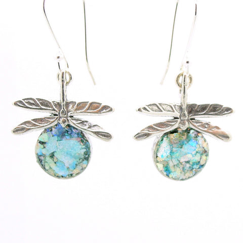 Dragonfly sterling silver earrings with roman glass
