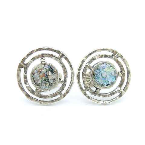 Hammered silver round post studd earrings with roman glass