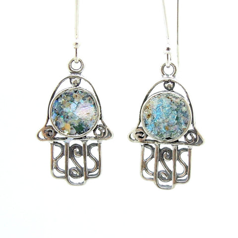 Filigree sterling silver hamsa earrings with roman glass