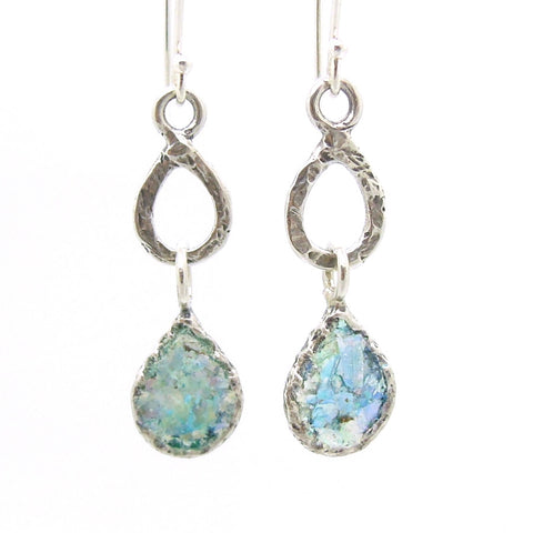Drop earrings sterling silver and roman glass