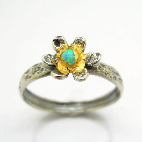 Flower ring with opal and 24K Yellow gold, Hammered sterling silver band