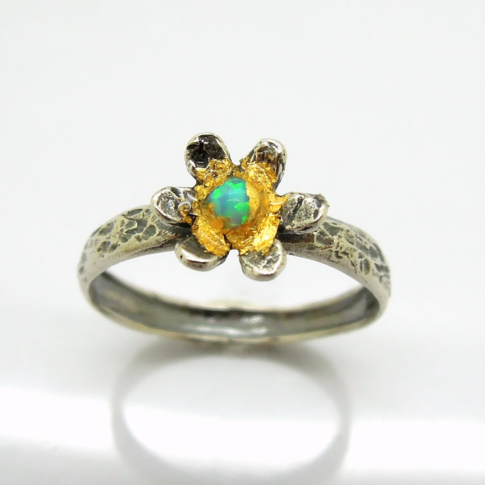 8c391bea867d2 Flower ring with opal and 24K Yellow gold, Hammered sterling silver band