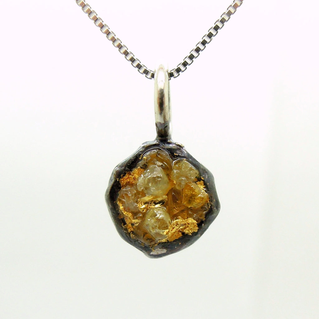 Raw diamond necklace pendant, 24K Yellow gold in oxidized silver, Silver chain included