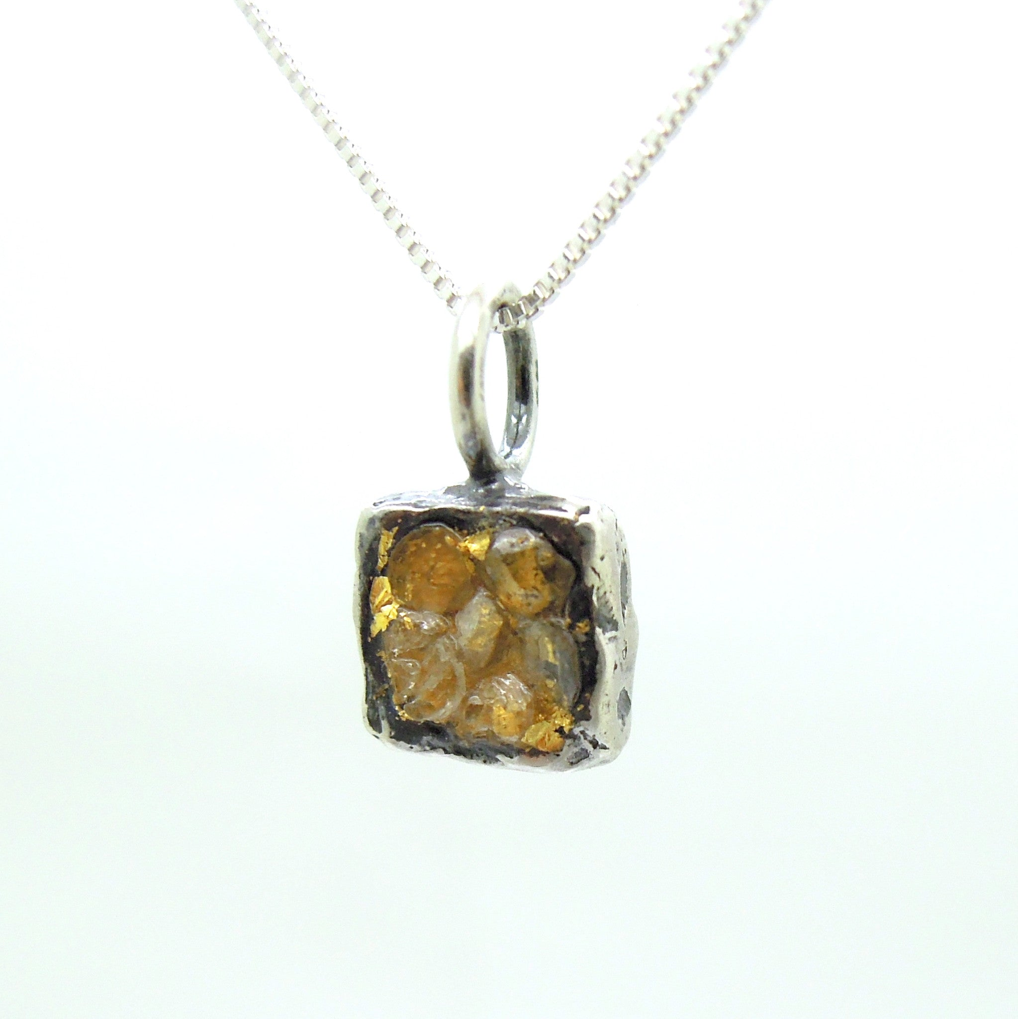 Raw diamond necklace pendant square pendant 24k yellow gold in raw diamond necklace pendant square pendant 24k yellow gold in oxidized silver silver chain included aloadofball Image collections