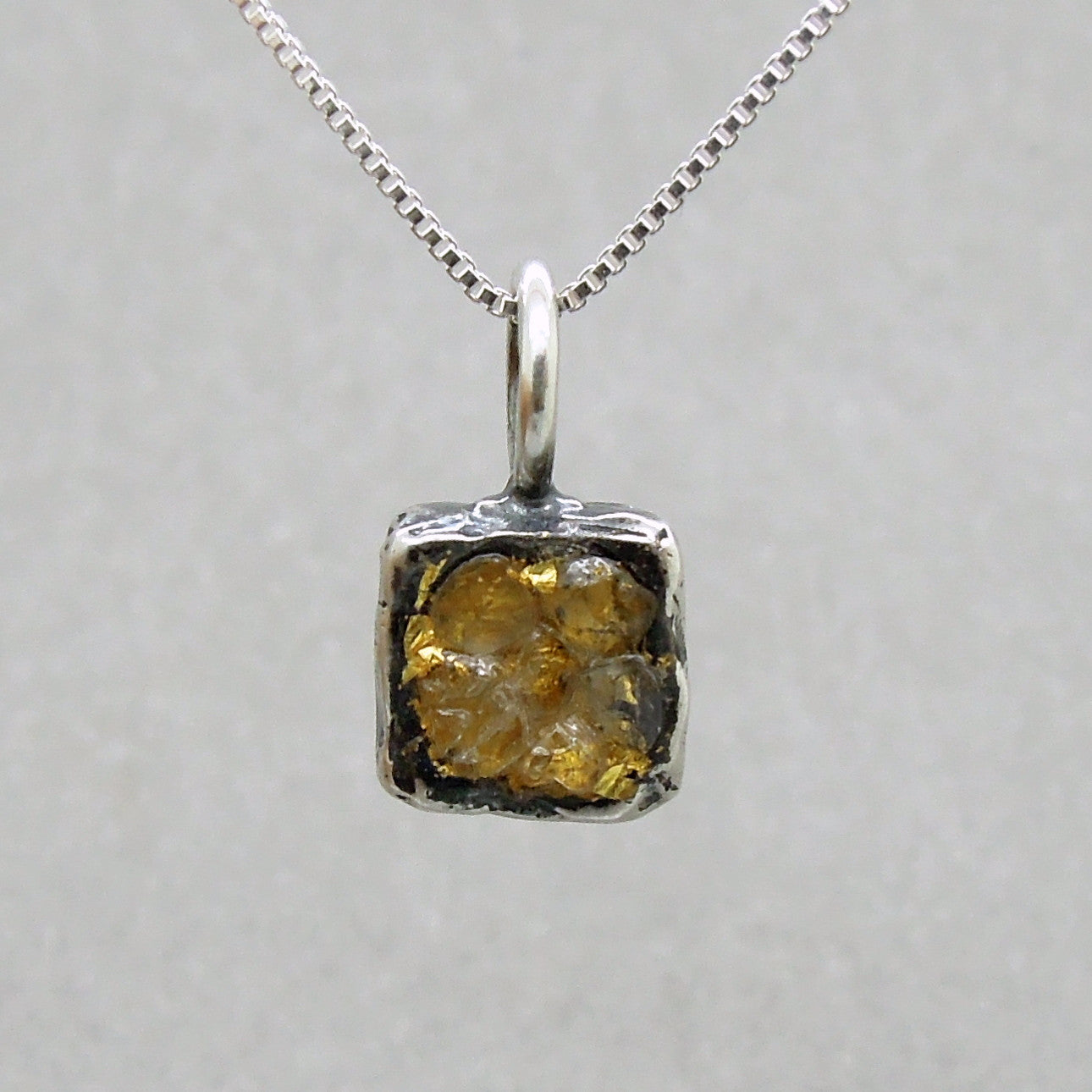 Raw diamond necklace pendant square pendant 24k yellow gold in raw diamond necklace pendant square pendant 24k yellow gold in oxidized silver silver chain included aloadofball Images