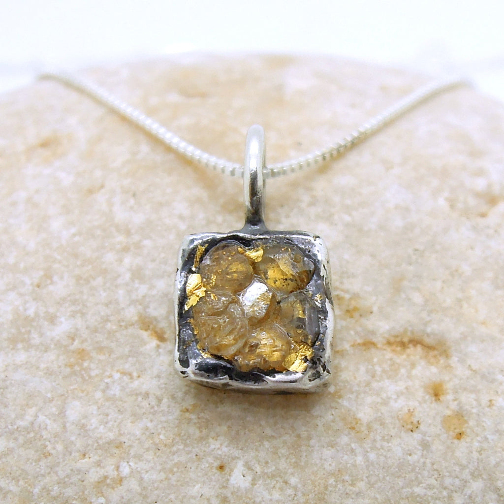 Raw diamond necklace pendant, Square pendant, 24K Yellow gold in oxidized silver, Silver chain included