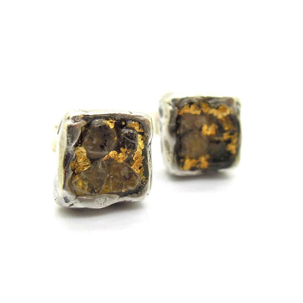 Raw diamond earrings, Square studs, 24K gold, silver post earrings, Unique design