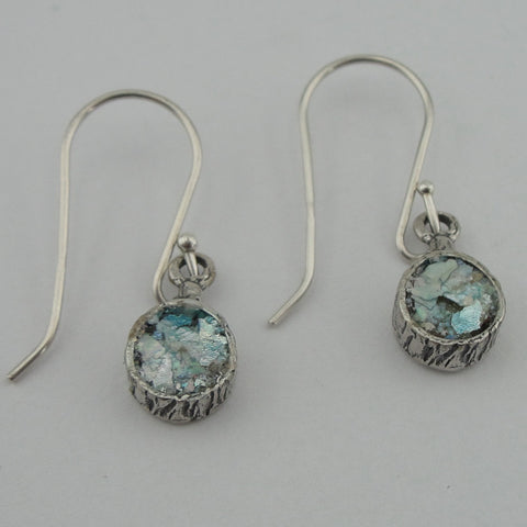 Ancient Roman Glass Jewelry, round sterling silver earring with antique roman glass (409313)