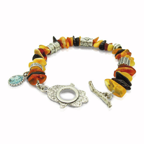Bracelet - Amber Bracelet With A Hamsa Hand Closer And Flower Shapes
