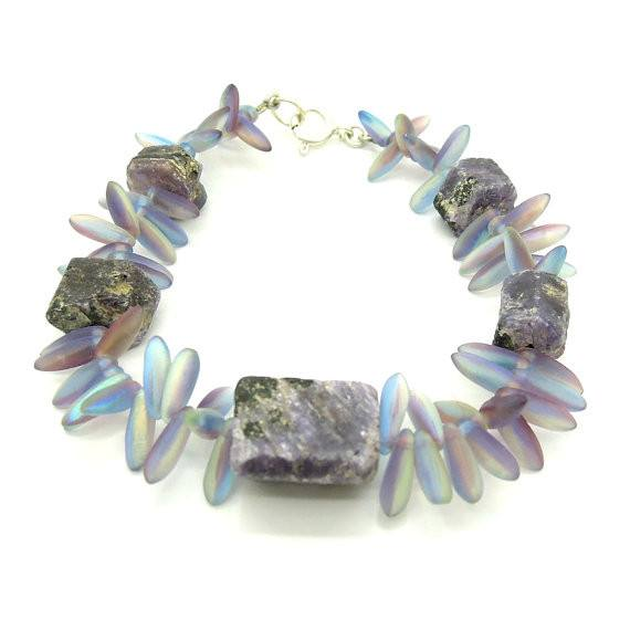Bracelet - Bead Bracelet With Raw Sapphires And Glass Bead Gemstones