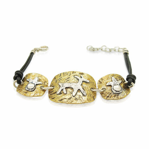 Bracelet - Brass Bracelet, Leather & Silver Closer, Animal Figure