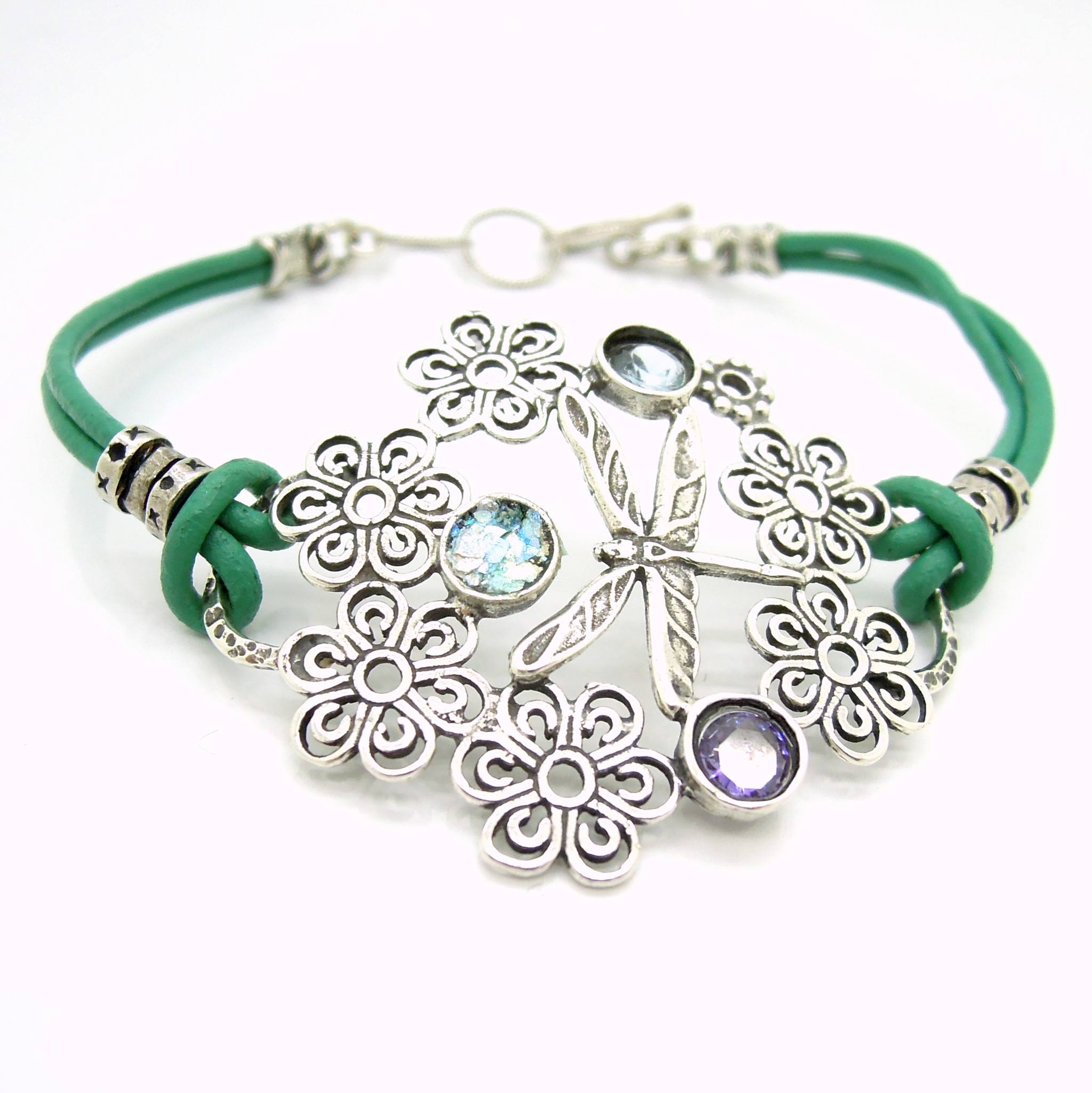 Dragonfly Bracelet With Leather Sterling Silver And Gemstones